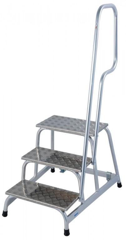 obrázek Podesta hliníkové schody pojízdné, zábradlí STABILO 3 stupně KRAUSE