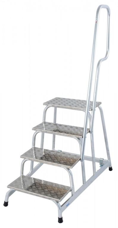 obrázek Podesta hliníkové schody pojízdné, zábradlí STABILO 4 stupně KRAUSE