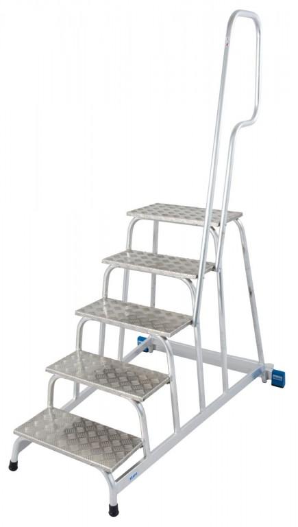 obrázek Podesta hliníkové schody pojízdné, zábradlí STABILO 5 stupňů