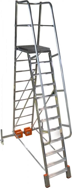 obrázek Podesta VARIO 12 stupňů hliníkové schody šířka 1,44m KRAUSE