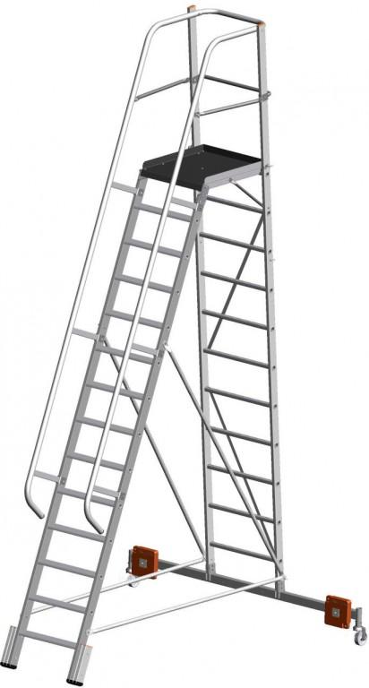 obrázek Podesta VARIO 14 stupňů hliníkové schody šířka 2,07m KRAUSE